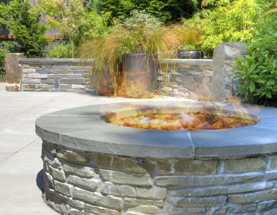 gas fire pit with seat ledge