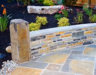 Column Rock Seat Wall