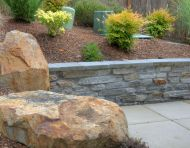Golden granite and seat wall