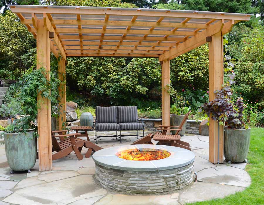 pergola on flagstone patio