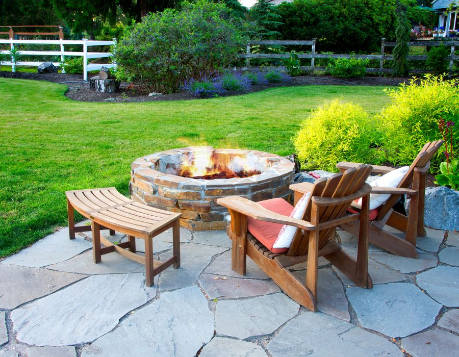 Mortared Stacked Stone Firepit
