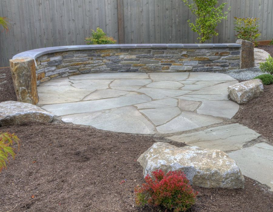 Natural Stone Seat Wall And Patio